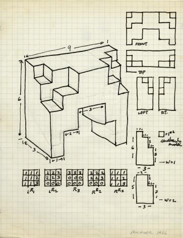 Mel Bochner,Study for Sculpture (5-Part Progression), 1966.