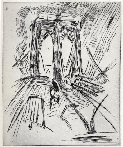 John Marin,Brooklyn Bridge, No. 6 (Swaying), 1913.