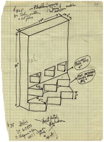 Mel Bochner,Untitled (Shop Drawing for One/Two/Three), 1966. Ink on graph paper, 11 3/4 x 8 5/8 inches.