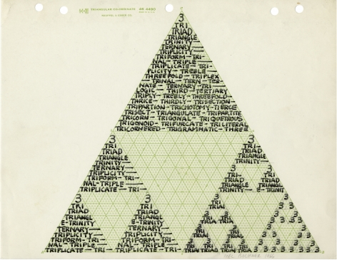 Mel Bochner,3,1966. Ink and pencil on graph paper, 8 1/2 x 11 inches. Private collection.