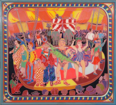 Colorful composition of a circle of circus performers standing on a red and white striped platform surrounded by a large audience. In the center facing us is a blonde man holding a small alligator, with a woman holding a snake to the right and a clown to the left. The composition has a blue border with a yellow and red block pattern on it.