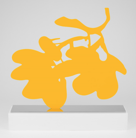 SULTAN-Donald_Big Yellow Lantern Flowers, May 1, 2014_painted aluminum on polished stainless steel base_59x65.75x11 inches