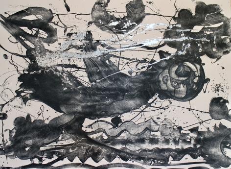 HOWE-Catherine_Carborundum and Silver (running bird)_acrylic mediums, carborundum grit, encaustic, aluminum leaf, gesso, on canvas_60x84_sold