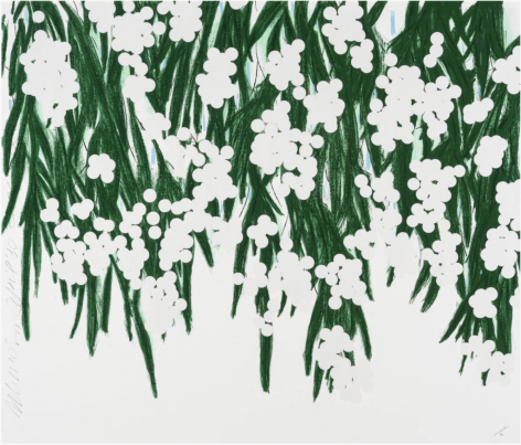 SULTAN-Donald_Mimosa, April 30, 2015_18-color silkscreen with white flocking on museum board_51x60 inches