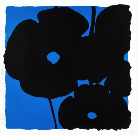 SULTAN-Donald_Blue and Black, Nov 6, 2015_color silkscreen with enamel inks and flocking on museum board_46x46 inches