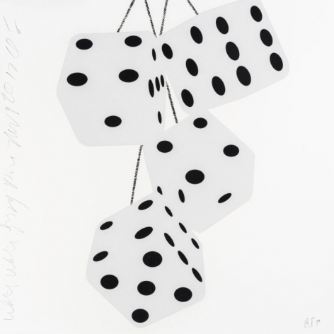SULTAN-Donald_White White Fuzzy Dice, Nov 9, 2017_silkscreen inks with flocking on museum board_24 x 24 inches