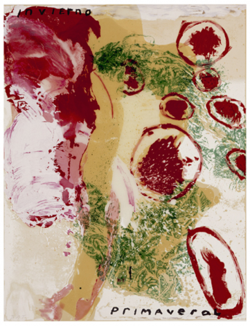 SCHNABEL-Julian_Invierno Primaveral_hand-painted, 17-color silkscreen with poured resin_40x30 inches