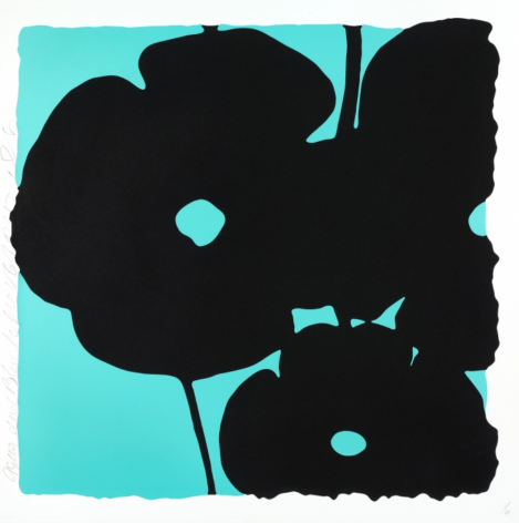 SULTAN-Donald_Aqua and Black, Nov 6, 2015_color silkscreen with enamel inks and flocking on museum board_46x46 inches