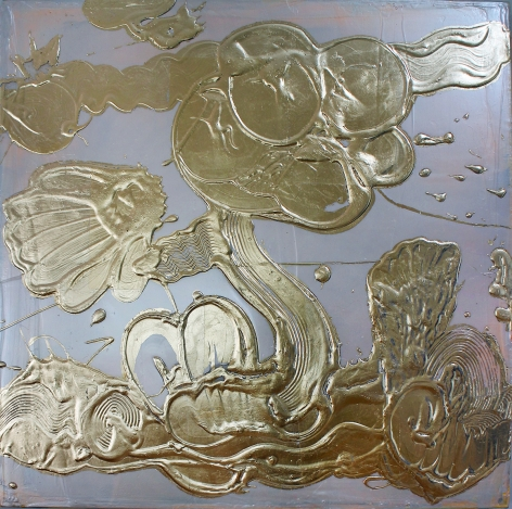 HOWE-Catherine_Opal Painting (#11)_metal leaf, acrylic mediums, pigments on canvas_24x24