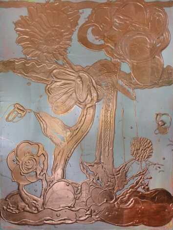 HOWE-Catherine_Opal Painting (Garden no.9)_copper leaf, mica pigment, acrylic on canvas_48x36