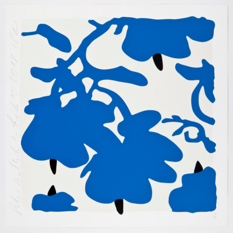SULTAN-Donald_Blue and White, Feb 10, 2017_color silkscreen with over-printed flocking on museum board_32x32 inches