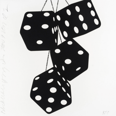 SULTAN-Donald_Black White Fuzzy Dice, Nov 9, 2017_silkscreen inks with flocking on museum board_24 x 24 inches