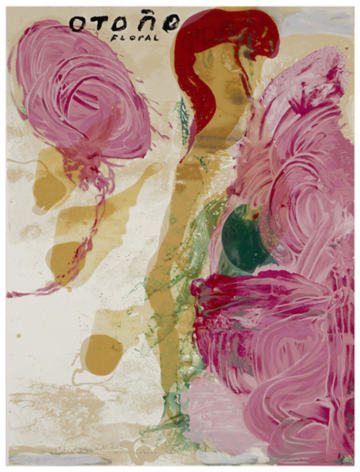 SCHNABEL-Julian_Otono Floral_hand-painted, 15-color silkscreen with poured resin_40x30 inches