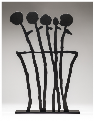 BAECHLER-Donald_Black Flowers_shaped, oxidized aluminum mounted to aluminum base with black powder coat_26x16.5x3.5 inches