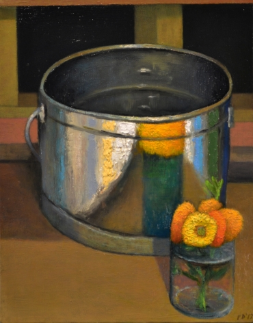 DAMIANO-Frank_Bucket with Flowers_oil on canvas_14x11
