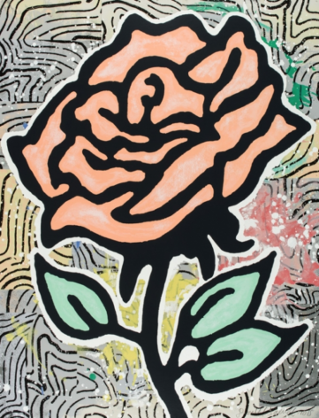 BAECHLER-Donald_Peach Rose_28-color silkscreen on museum board_40x31 inches