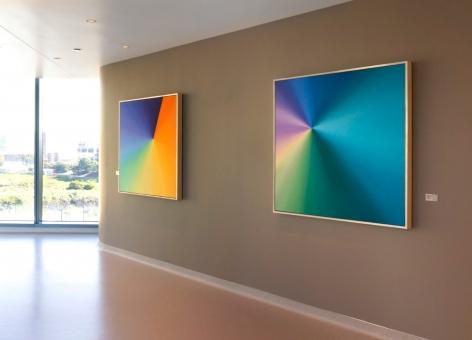 Kaori Fukuyama_Peaks & Valleys (left)__Origami Unfolding, No.1 (right)_oil on canvas_48x48 each
