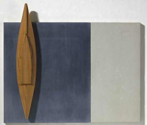 RUDDELL-David_Fir Boat, Black and Grey Board_mixed media_44x52