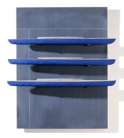 RUDDELL-David_Black Board-3 Blue Boat_28x24x4