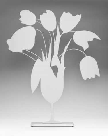 SULTAN-Donald_White Tulips and Vase, April 4, 2014_painted aluminum on polished aluminum base_24x20x3.5 inches