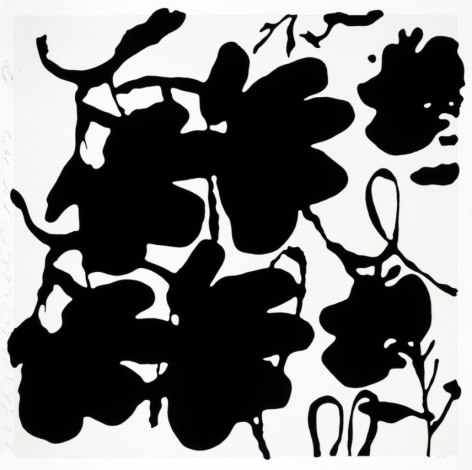 SULTAN-Donald_Lantern Flowers, Black and White, Oct 4, 2017_silkscreen with enamel inks and flocking on museum board_58x58 inches