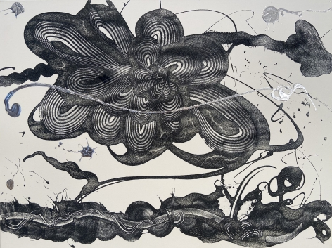HOWE-Catherine_carborundum and Silver Painting (the garden)_36x48_sW