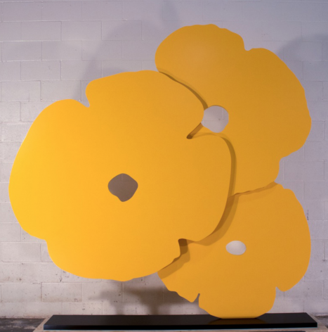 SULTAN-Donald_Big Yellow Poppies_painted aluminum_72x72 inches on 1.25x11.5x63 inch base