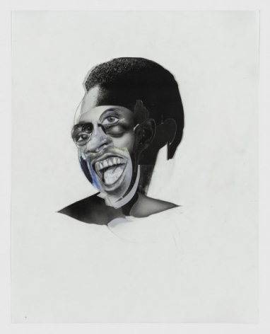 Wardell Milan,Michael B, 2019.Cut-and-pasted printed paper, charcoal, graphite, and colored pencil on Yupo paper, 14 x 11 1/8 inches.© Wardell Milan, Courtesy David Nolan Gallery, New York.