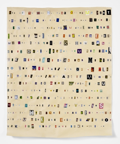 Soundtrack to My Life:All of Me by Billie Holiday (Bank), 2017. Magazine clippings and polyvinyl adhesive on kozo paper. 48 x 38 1/2 inches.