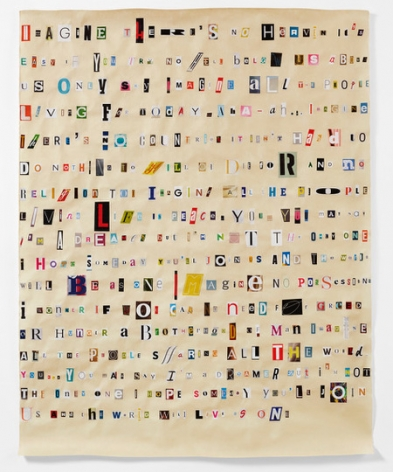 Rachel Perry,Soundtrack to My Life: Imagine by John Lennon (hotel Lobby), 2018. Magazine clippings and polyvinyl adhesive on kozo paper. 64 1/2 x 38 1/2.