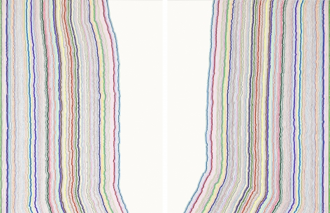 Chiral Lines 27, marker and pen on paper. 50 x 38incheseach, 50 x 76inches overall