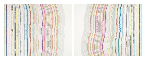 Chiral Lines 6, 2015. Marker and pen on paper. 38 x 50 inches each. 38 x 100 inches overall.
