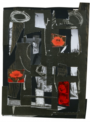 Dionne Lee,Wounds,2020. Collage of gelatin silver prints, cut paper, transparency, with graphite. 15 1/4 x