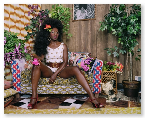 Mickalene Thomas, Qusuquzah with Pink Flower in Hand, 2018. Chromogenicprint, 44 x 54 inches.