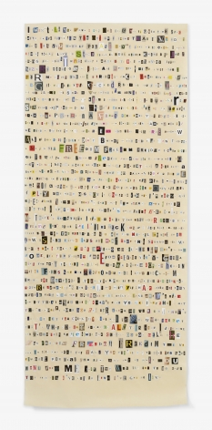 Soundtrack to My Life:Freedom by George Michael (Copy Shop), 2017. Magazine clippings and polyvinyl adhesive on kozo paper. 91 1/2 x 38 1/2 inches.