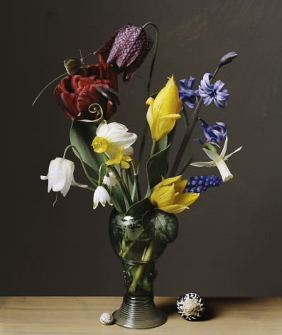 Photograph by Sharon Core titled 1616 from the series 1606-1907 of a floral still life arranged in the style of a classical painting