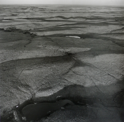Pond and Car, West of Minneapolis, Ottawa County,  April 27, 1990. Vintage gelatin silver print, image size 15 x 14 7/8 inches.