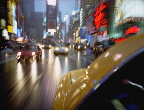Taxi Times Square, 2002, Chromogenic Print, available in: 20 x 24 inches, edition of 15; 30 x 40 inches, edition 15; and 40 x 50 inches, edition of 5.