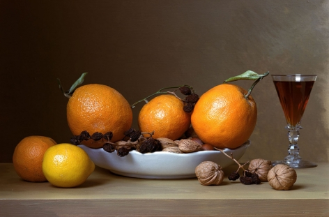 Early American, Still Life with Oranges, 2008. Chromogenic print,13 3/4x 201/4inches.