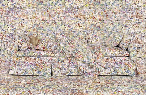 Rachel Perry,Lost in MyLife (Fruit Stickers Reclining), 2018. Archival pigment print, 40 x 60 inches.