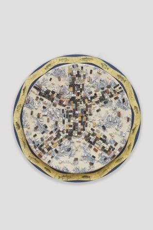 Domino 5,2020. Domino collage, 56 3/8 inches diameter.