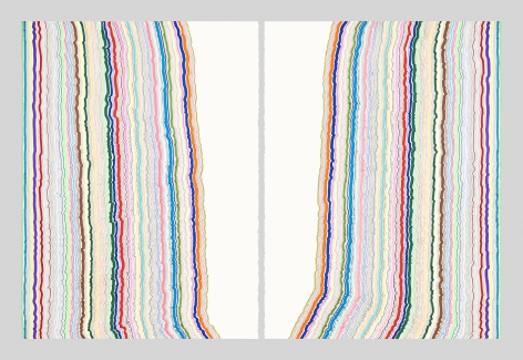 Chiral Lines 21, marker and pen on paper. 30 x 22 inches each, 30 x 45 inches overall