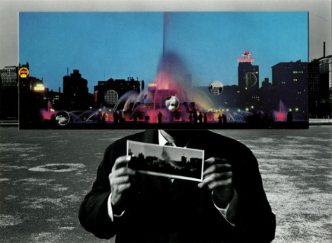 Postcard Visit, Chicago (69-35-15-13), 1969,4.75 x 6 inch gelatin silver print and collage