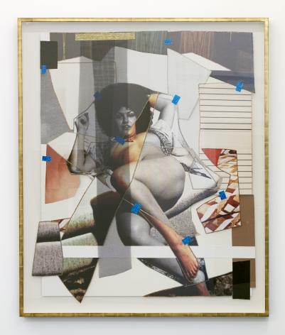 Mickalene Thomas,Jet Blue #24,2021. 67 3/4 x 56 3/4 inches. Color photograph, mixed media paper, acrylic paint, rhinestones, and fiberglass mesh on museum board mounted to dibond.© Mickalene Thomas