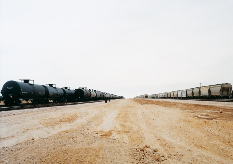 Untitled (Parallel cars) near Cotulla, Texas, 2012.