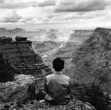 Tseng Kwong Chi,Grand Canyon, Arizona, 1987.Gelatin silver print, 16 x 16 inches.