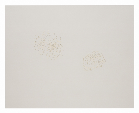 Halos, Gardner Museum445-019, 2018.Braille punch, gold leaf, and graphite on paper.