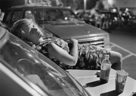 Mark Steinmetz,Athens, GA (girl onhood of car),1996. Gelatin silver print, 40 x 50 inches.