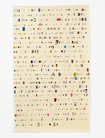 Soundtrack to My Life:Goodbye Yellow Brick Road by Elton John (Grocery Store), 2014. Magazine clippings and polyvinyl adhesive on kozo paper. 65 1/2 x 38 1/2 inches.