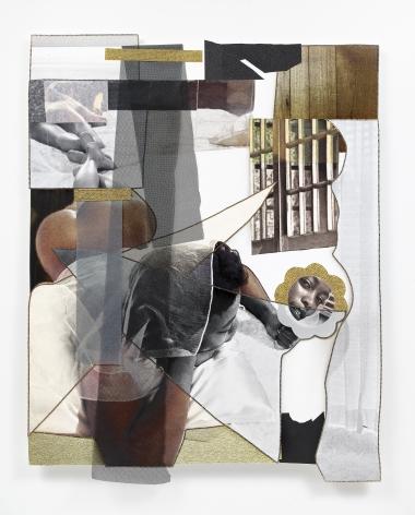 Mickalene Thomas,Jet Blue #20,2021. Color photograph, mixed media paper, acrylic paint, rhinestones, Swarovski crystal fabric, fiberglass mesh. 59 x 46 1/4 inches.© Mickalene Thomas